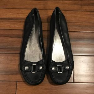 Coach Honor Black Leather Flat Size 9
